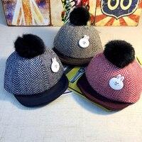 Janvancy bebé Niños Niñas CAPS algodón pompom sombrero de béisbol Fieltro raya sombrero caliente brida RABIT de dibujos animados niña niño niños