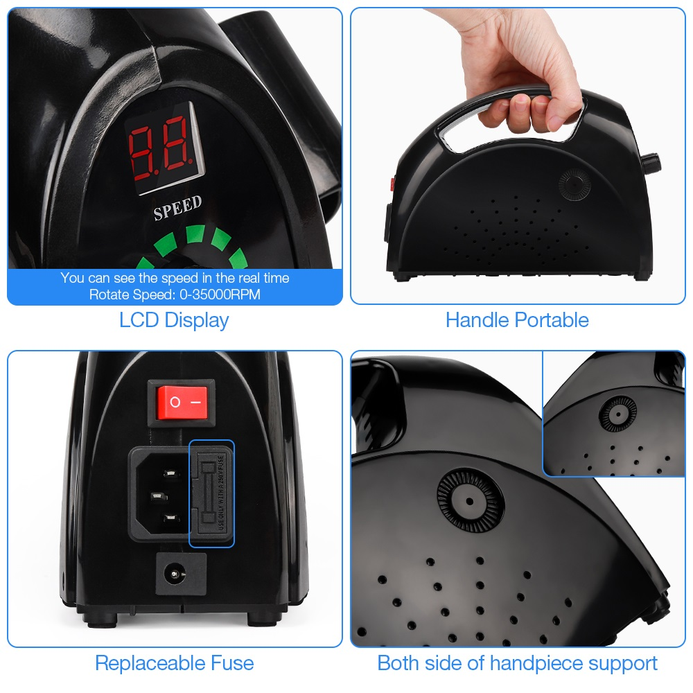 65W Strong  Nail Drills Manicure Machine Pedicure Electric Strong 35000RPM File Bits Nails Art Equipment nail drill machine