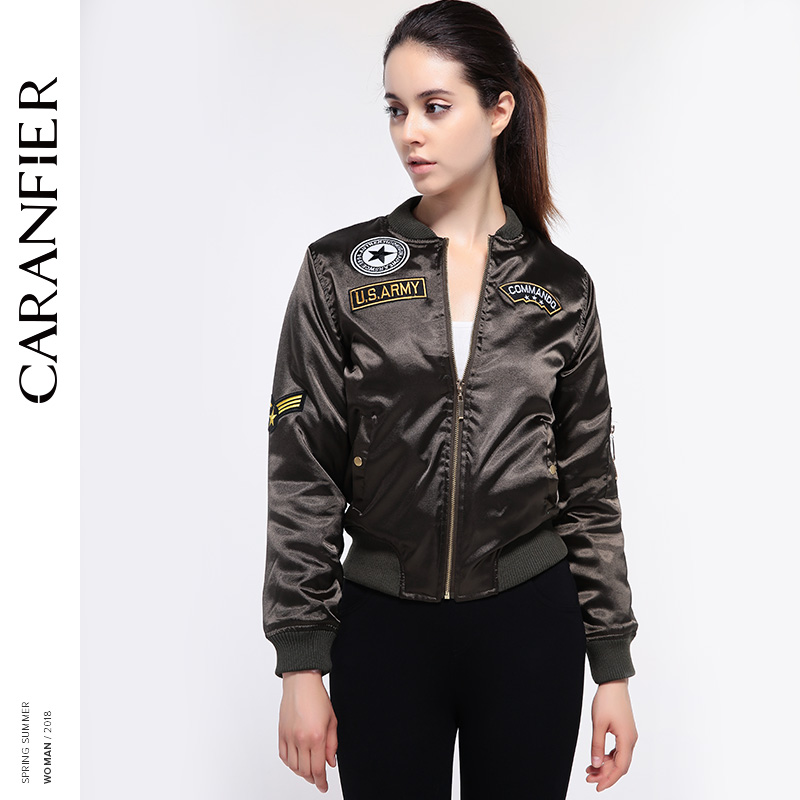 CARANFIER 2018 Spring New Fashion Street Women s Embroidery Rivet Casual Satin zipper jacket appliques Vintage