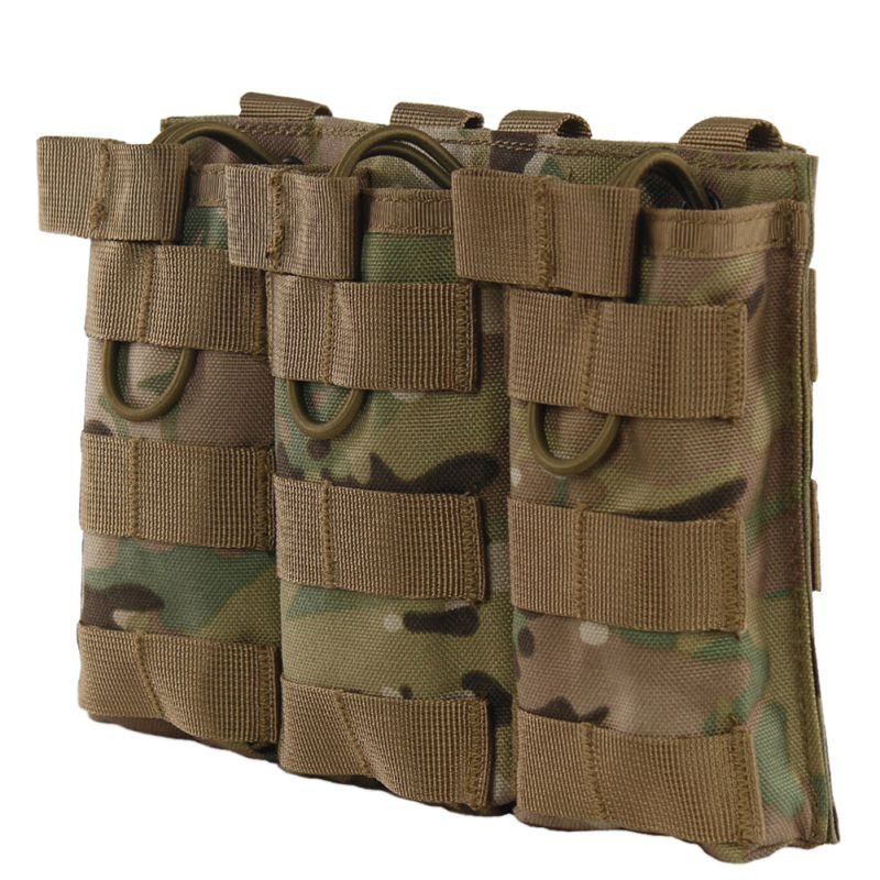 Tactical MOLLE Triple Open-Top Magazine Pouch FAST AR M4 FAMAS Mag Pouch Military Paintball Equipment HX02 image