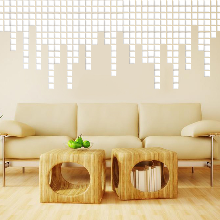 100PCS lot DIY 3D Mirror Acrylic Mural Wall Stickers Mosaic Mirror Effect Room Square Home Decor Stickers 2x2cm in Wall Stickers from Home Garden