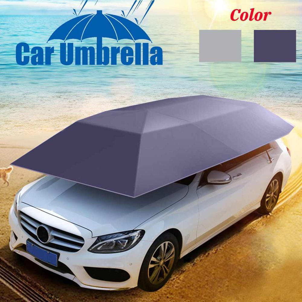 400x210 cm çadır şemsiye kapsama güneş gölge araba evrensel UV korumak araç araba açık Oxford Polyester kumaş bakır