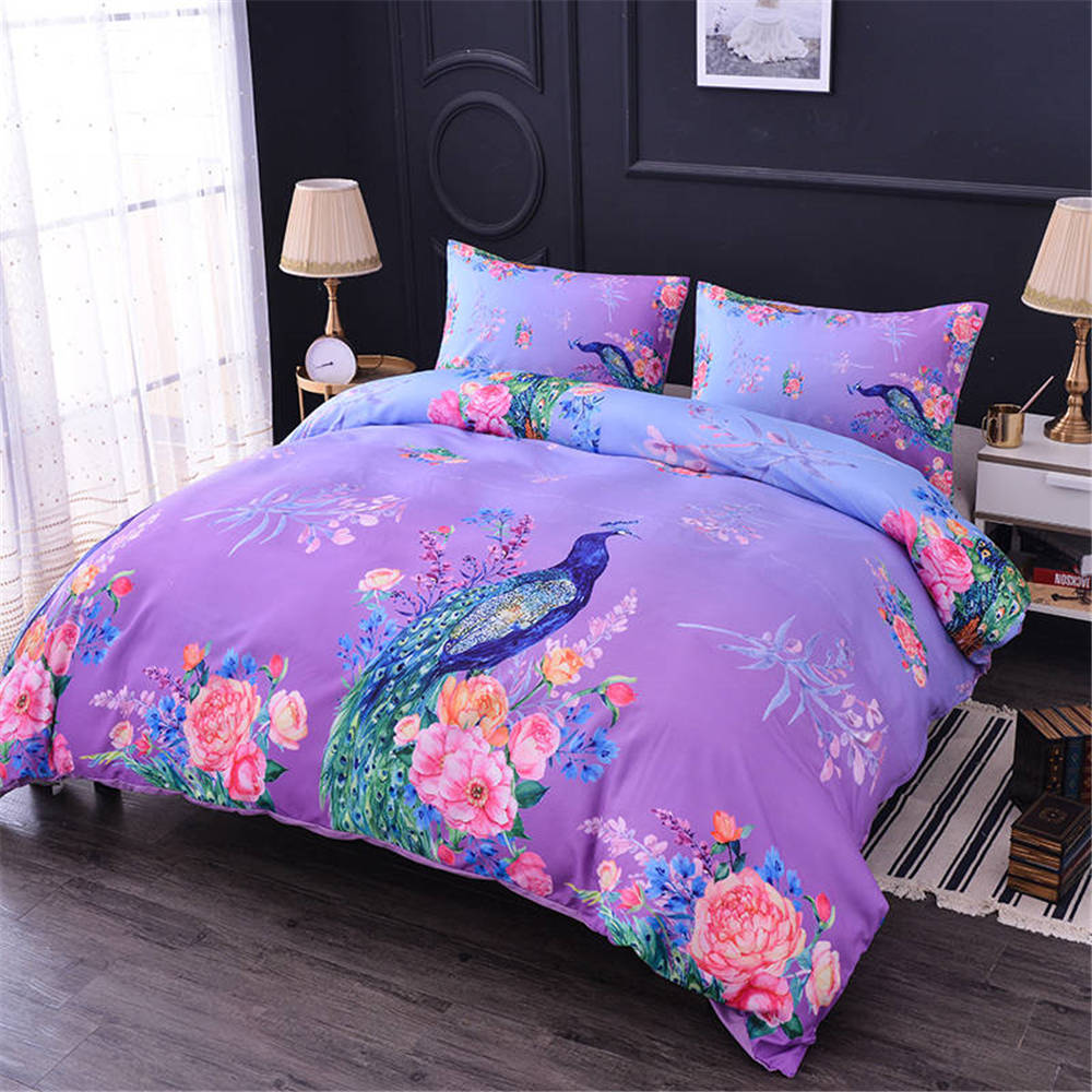 ZEIMON Soft 3D Animals Peacock Duvet Cover With Pillowcases Flowers Bedding Set Queen King Size Quilted Bedspread Bed Covers(China)