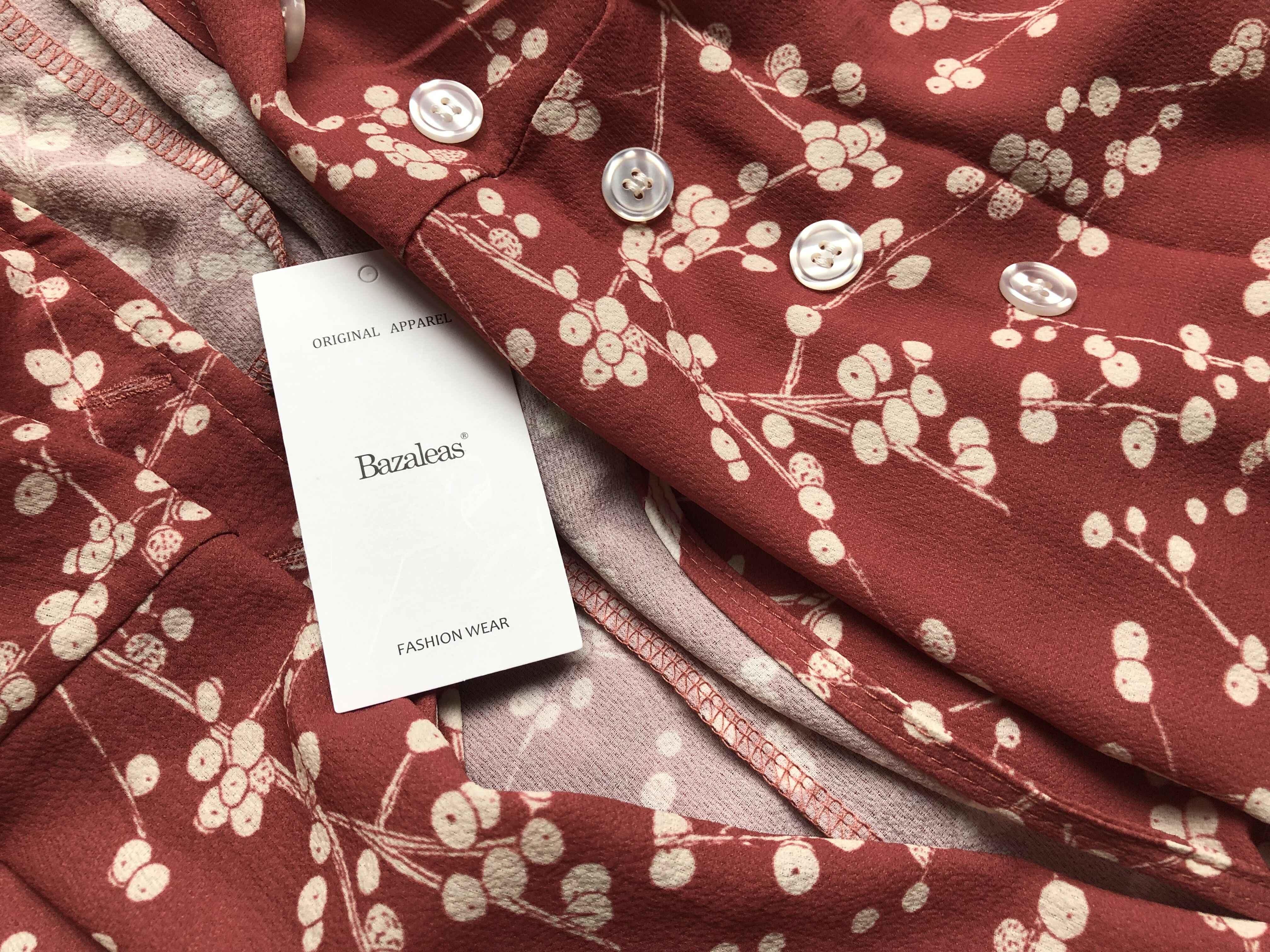 Bazaleas 2019 Nữ Tay Ngắn Mùa Hè tuổi hồng tú cầu in hình Midi Đầm Vintage nút và cà vạt trước Áo vestidos