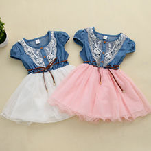 Pudcoco/ г. Летнее Детское праздничное платье принцессы для вечерние девочек, кружевное джинсовое платье с цветочным рисунком и фатиновой юбкой в стиле пэчворк, повседневные модные летние платья SS