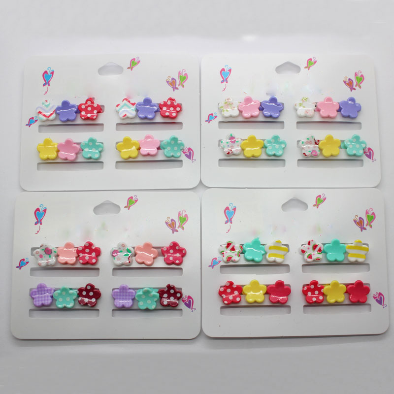 Apparel Accessories Obliging Wholesale 12pcs/lot Plastic Flower Shape Hair Claws Cute Print 10mm Hairgrips Girls Hair Accessories For Toddlers Headwear Girl's Hair Accessories
