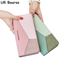 UR BOURSE Female Multi-function Wallet Womens Simple Coin Purse Ladies Long Clutch Bag Multi-card Holder Girls Stitching