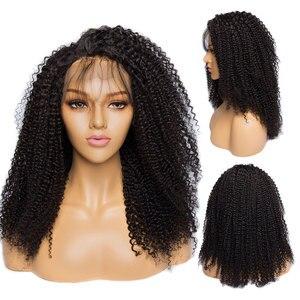 Image 2 - Парик Alibele Mogolian, кудрявый, кружево спереди, человеческие волосы, 150 плотность, 13х4, кудрявые человеческие волосы, фронтальная, длина 10 24 дюйма