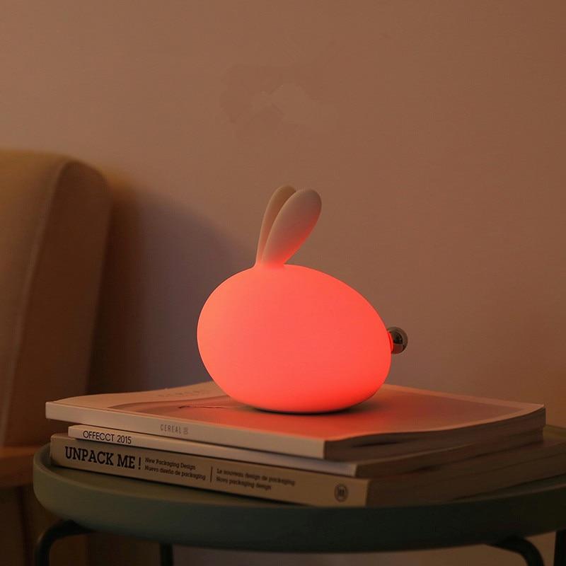 Luzes da Noite novidade silício coelho luz conduzida Color : Rgb Color