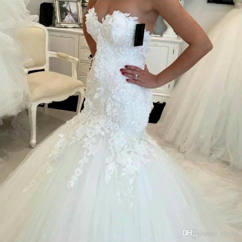 Hot Sale 2017 New Lace Mermaid Wedding Dresses 2017 Appliques Sweetheart Bride Dresses Elegant Wedding Gowns