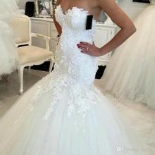 ホット販売 2020 新レースマーメイドウェディングドレス 2020 アップリケの恋人花嫁のドレスエレガントなウェディングドレスcasamento