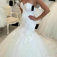 Hot Sale 2017 New Lace Mermaid Wedding Dresses 2017 Appliques Sweetheart Bride Dresses Elegant Wedding Gowns Casamento
