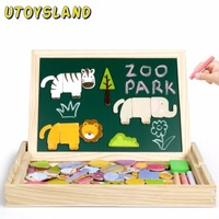 UTOYSLAND Magnetic Wooden Animals Forest Puzzle Painting Board Easel Kids Toys Early Educational Toys for Children Learning