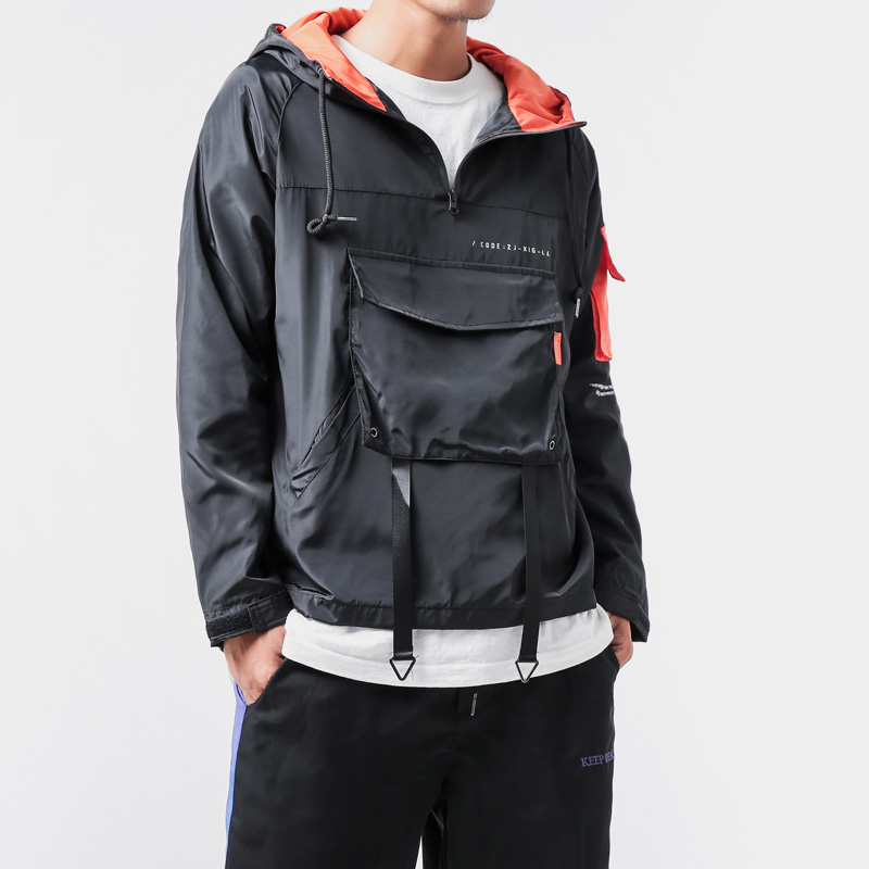 Japanese Contrast Color Sport Hoodie Men Hip Hop Long Sleeve Loose Jacket Big Pocket Fashion