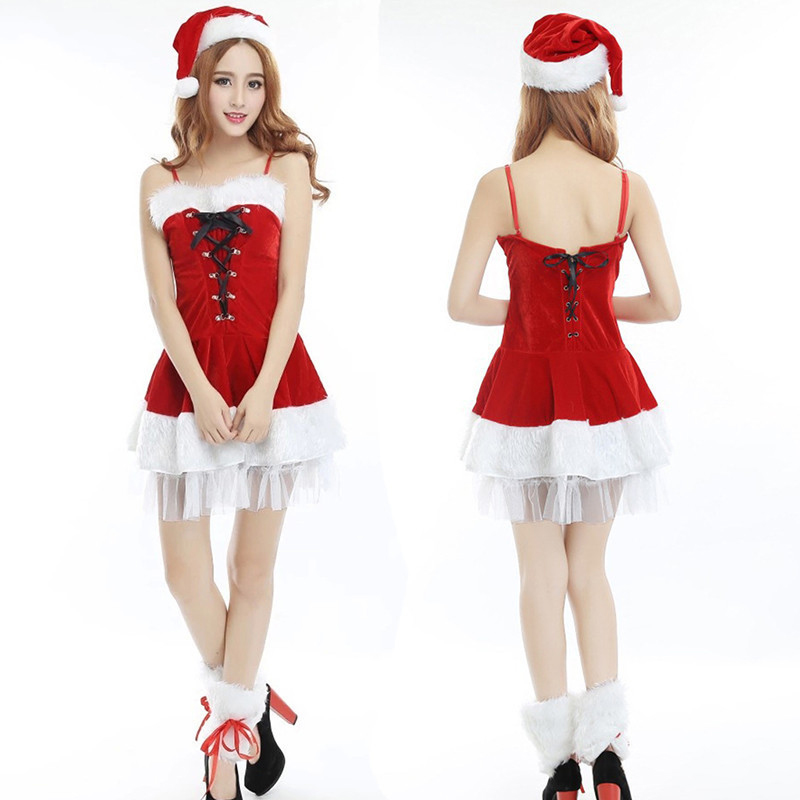 2018 sexy Christmas high quality red Christmas women red fashion cosplay COS stage party performance clothing