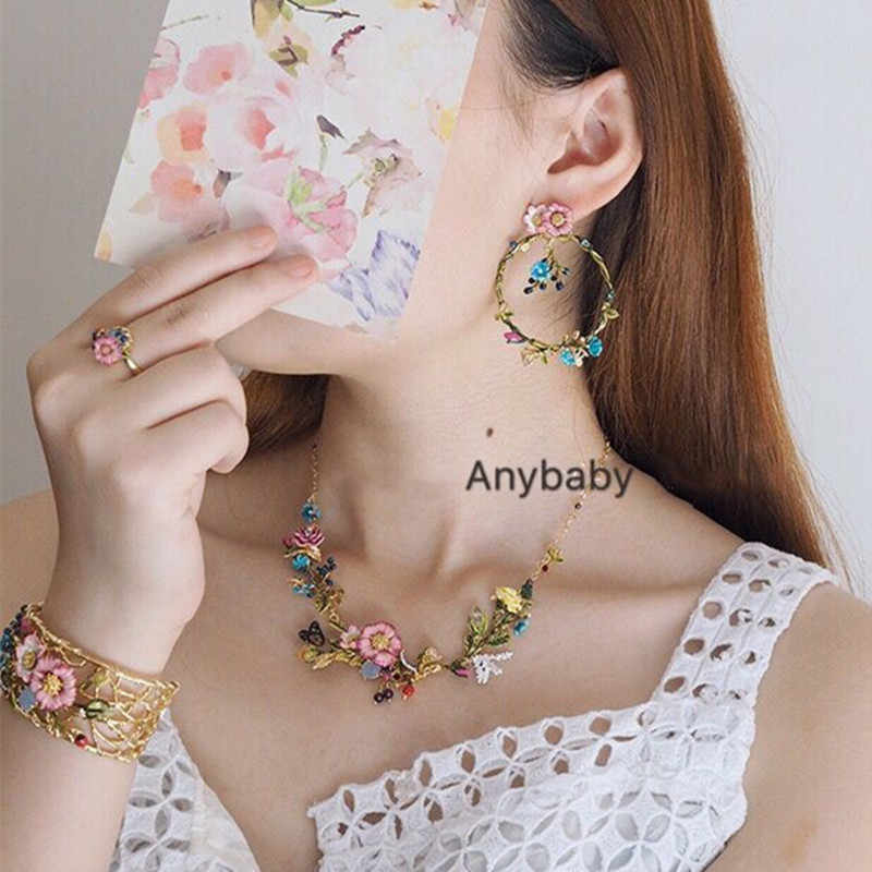 2018 Original Amybaby Designer Oriental Rose Pink Flowers Womens Earrings Necklace Ring Bangle Enamelled Glaze Jewelry For Party