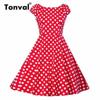Tonval Pin Up Vintage Yellow Dress Women Cap Sleeve 2020 Summer Cotton Casual Polka Dot Rockabilly Retro Dresses