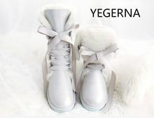 Модная обувь на высоком каблуке Женские снегоступы Сапоги и ботинки для девочек 100% из натуральной овечьей кожи Водонепроницаемый ботинки с высоким голенищем натуральный мех и теплая шерсть зимние сапоги