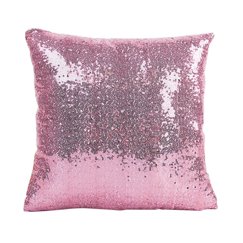 RUBIHOME Fashion Europe Pink Red Blue Paillette Shiny Bling Decorative Cushion Pillow Cover Throw Polyester Fabric Home Design