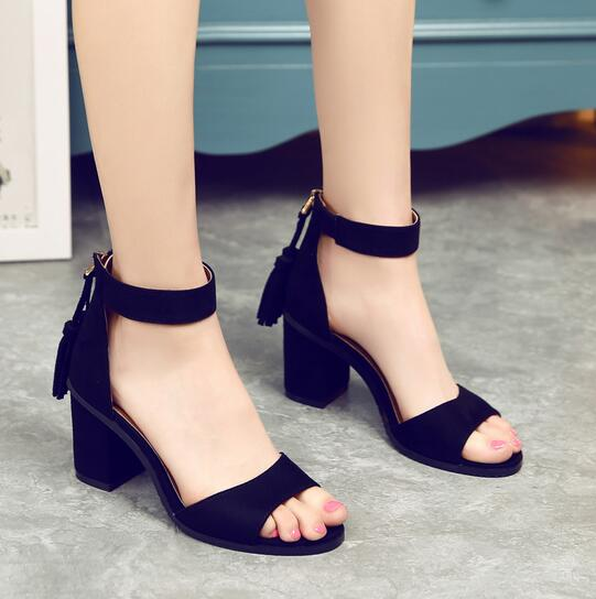 New Arrival Summer Hot Selling Concise Style Black Brown Suede Leather Square Thick High Heel Sandals Back Fringe Dress Sandals new pompom wild thing fringe suede sandals women summer wlegance
