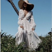 Elegant Sexy V neck Backless Cutout Lacing Fashion Ladies White Chiffon Long Dresses Summer Women long sleeves ruffles dress