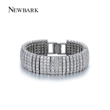 NEWBARK Charms Statement Bracelets & Bangles Wide High Quality CZ Diamond Paved Silver Color Wedding Jewelry Women Love Gifts