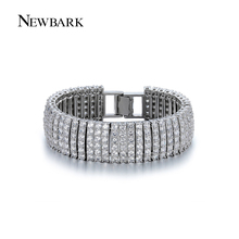 NEWBARK Luxury Sparklin CZ Bracelets For Women Silver Color Bracelet Bangles Femme Bridal Wedding Jewelry Pulseira