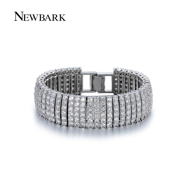 Newbark declaración charms pulseras y brazaletes de ancho de la alta calidad cz diamond pavimentada boda del color de plata joyería de las mujeres regalos de amor