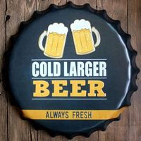 40cm Round Cold Large Beer Relief Bottle Cap vintage Tin Sign Bar pub home Wall Decor Metal art Poster