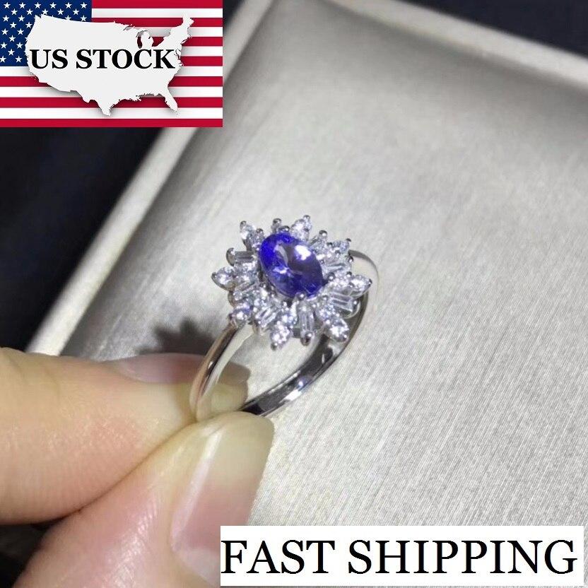 US STOCK Uloveido Tanzanite Ring for Women 925 Sterling Silver Wedding Jewelry 5 7m Gemstone with
