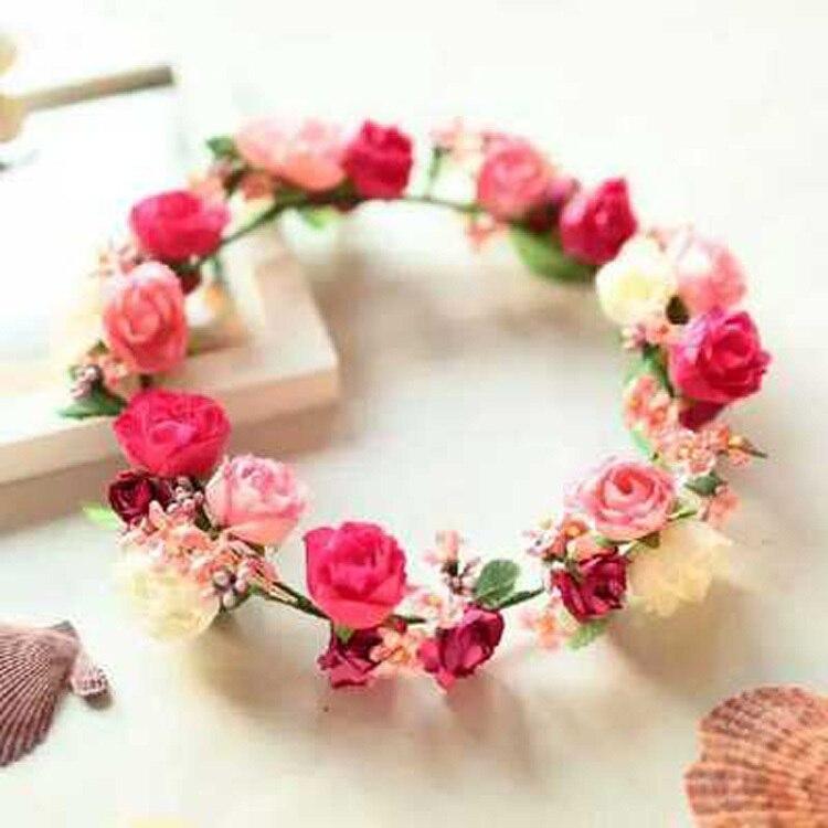 2016 Hot Sale Flower Head Wreath Wedding Red Flower Crown Headband Girls  Festival Garland Headdress Hair Accessories For Women -in Women s Hair  Accessories ... 75b9fdac2e2