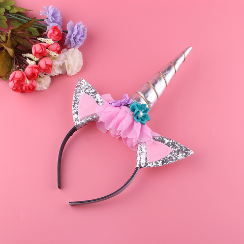 1PC Handmade Kids Gold Unicorn Headband Horn Glittery Beautiful Christmas Party Headwear Hairband Hair Accessories Gold/Silver Lahore