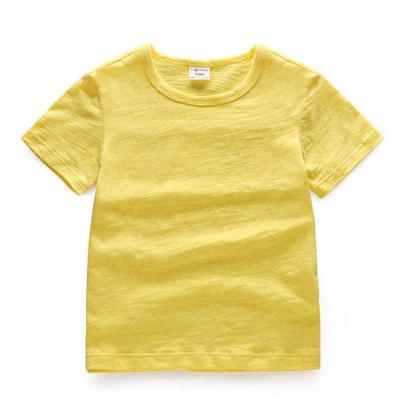 V-TREE; летние рубашки для мальчиков; хлопковые детские футболки; цветные топы для девочек; детская блузка с короткими рукавами; футболки для малышей; одежда для малышей - Цвет: solid yellow
