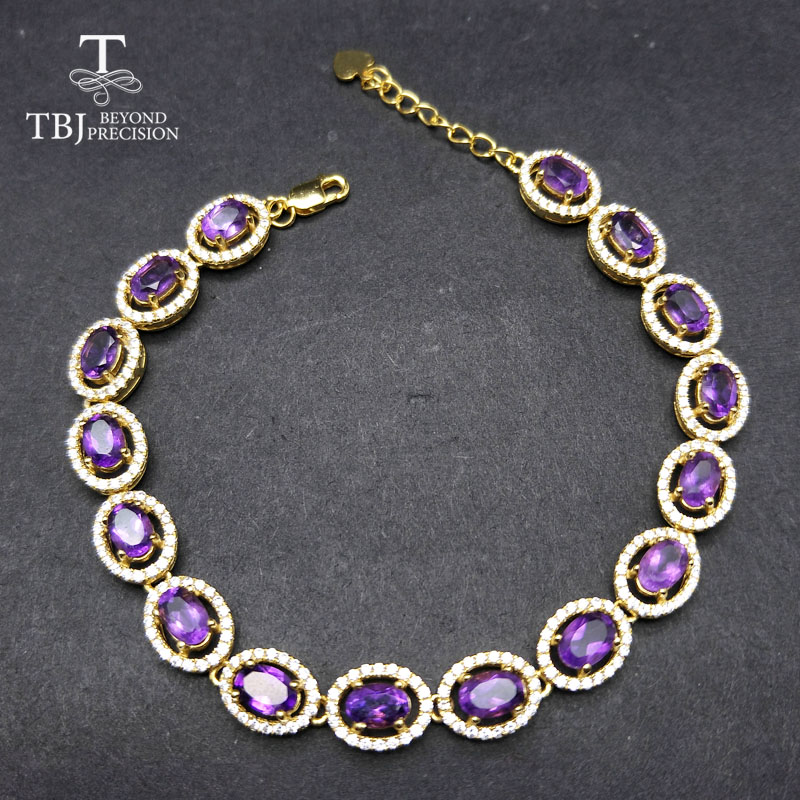 TBJ Long natural gemstone bracelet with natural amethyst in 925 sterling silver yellow gold color for