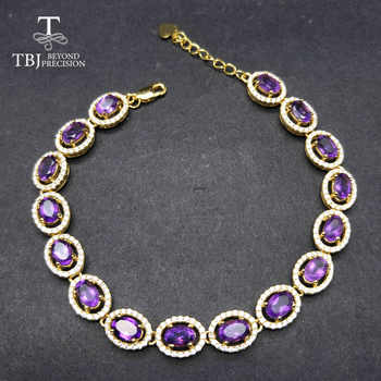 TBJ,Long natural gemstone bracelet with natural amethyst in 925 sterling silver yellow gold color for women with gift box - DISCOUNT ITEM  10% OFF All Category