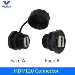 HDMI 2.0 wodoodporne gniazdo z wtykiem hdmi żeński do żeńskiego adapter sygnału danych wodoodporna linia hd wtyczka prosta w Złącza od Lampy i oświetlenie na