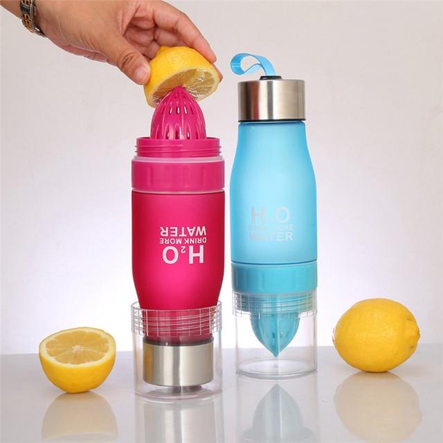 Creative 650ML H2O Lemon Juice Fruit Water Bottle Infuser Drinkware For Outdoor Portable Shaker Sports Bottle BPA Free 2