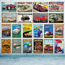 Classic Auto Races Car Metal License Plate Tin Signs Vintage Poster Wall Art Painting Decorative Plaque Bar Pub Garage Decor(China)