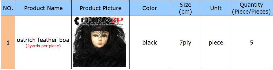 CHINAZP plume design personnalisé vente 5 pièces par sac 7ply noir moelleux autruche plume Boa robe montrant