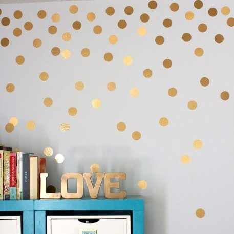 Golden Dots Wall Stickers For Kids Rooms Wall Decor Cute Art Decals Diy Home Decoration Paste Home Decor Art Sticker