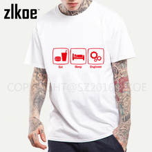 2017 New Fashion T Shirt Eat Sleep Engineer Tshirts Cotton Short Sleeve Engineering Career Occupation Funny Technology T-shirts