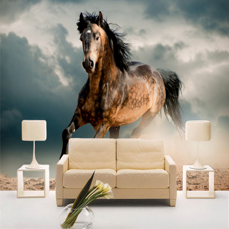 Running Horse 3D Stereo Animal Wallpaper Living Room TV Sofa Backdrop Wall Mural Classic 3D Non-Woven Moisture-Proof Wall Papers