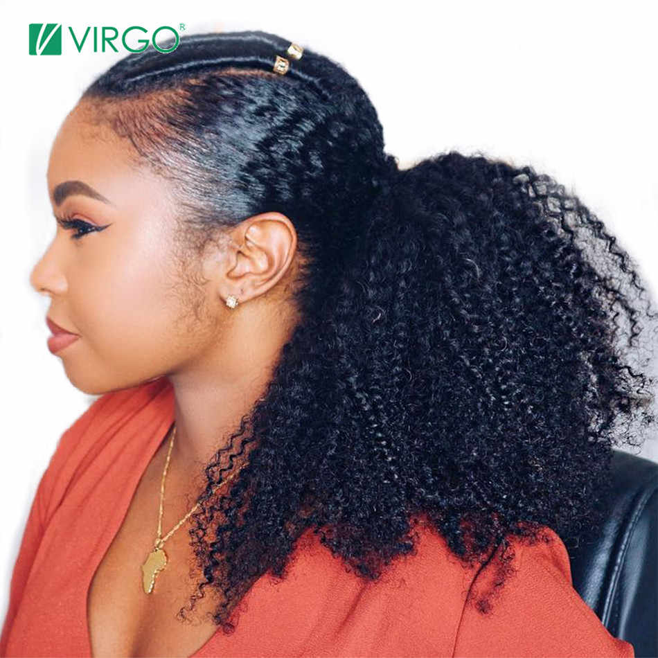 Virgo 4b 4c Afro Kinky Curly Ponytails Extensions One Piece Mongolian Clip In Human Hair Extension Ponytails Natural Color Remy