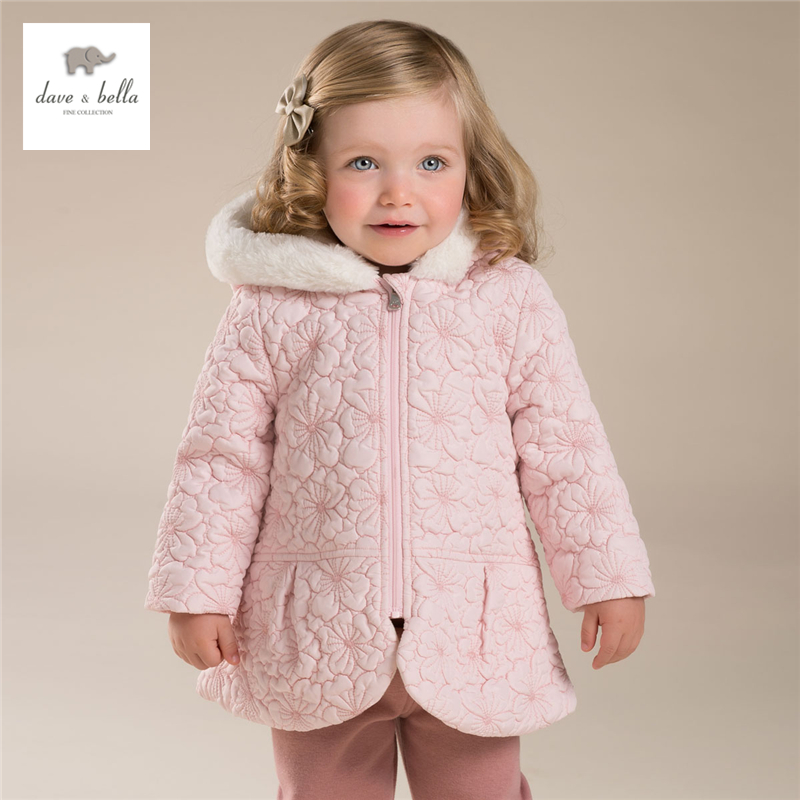 DB3983 davebella autumn baby girls red pink outerwear baby hooded coat babi outerwear baby padded clothes outerwear