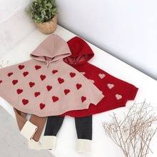 d6446171e4d Cute Baby Girls Love Embroidered Knitted Sweater Capes Poncho with Hats  Candy Red Beige Color Spring