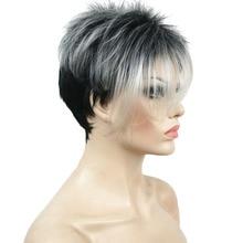 StrongBeauty pelucas de mujer, peluca completa sintética Natural, recta, corta, mezcla de gris/negro