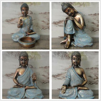 New Antique retro Southeast Asian style hand painted gilt resin buddha ornaments statue feng shui figurine home decoration craft