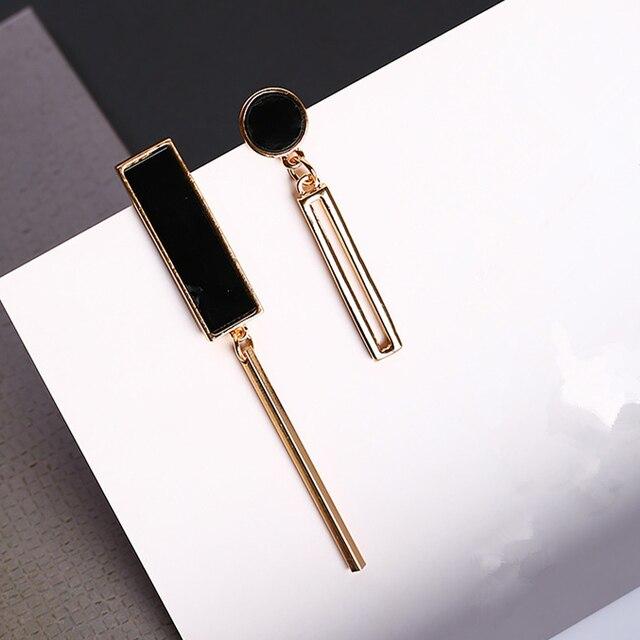 2017 Trendy Fashion Korean Asymmetry Geometric Earrings Alloy Hollow Rectangle S