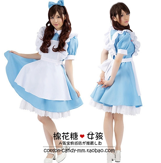 Alice in the wonderland costume Blue maid cosplay for women alice dream adult lolita cosplay Halloween Fancy Dress costumes