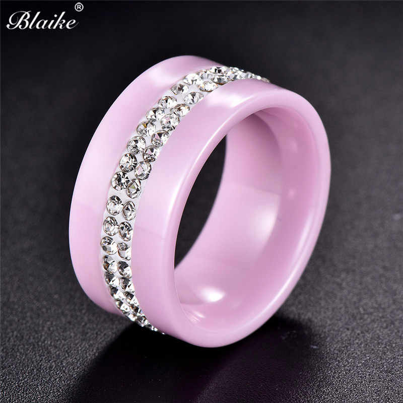 Blaike Double Row Rhinestone White/Pink/Black Ceramics Rings for Women Men 2019 New Fashion Jewelry Female Thanksgiving Day Gift